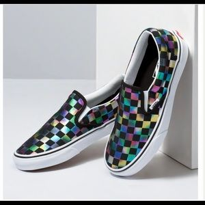 🆕 VANS Iridescent Check Classic Slip-On Shoes